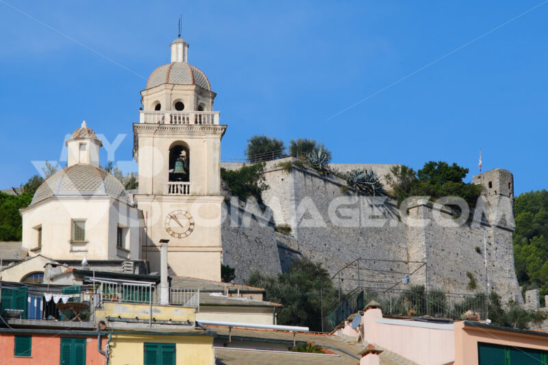 Castle, church and bell tower of the seaside village of Portovenere near the Cinque Terre, La Spezia. - LEphotoart.com