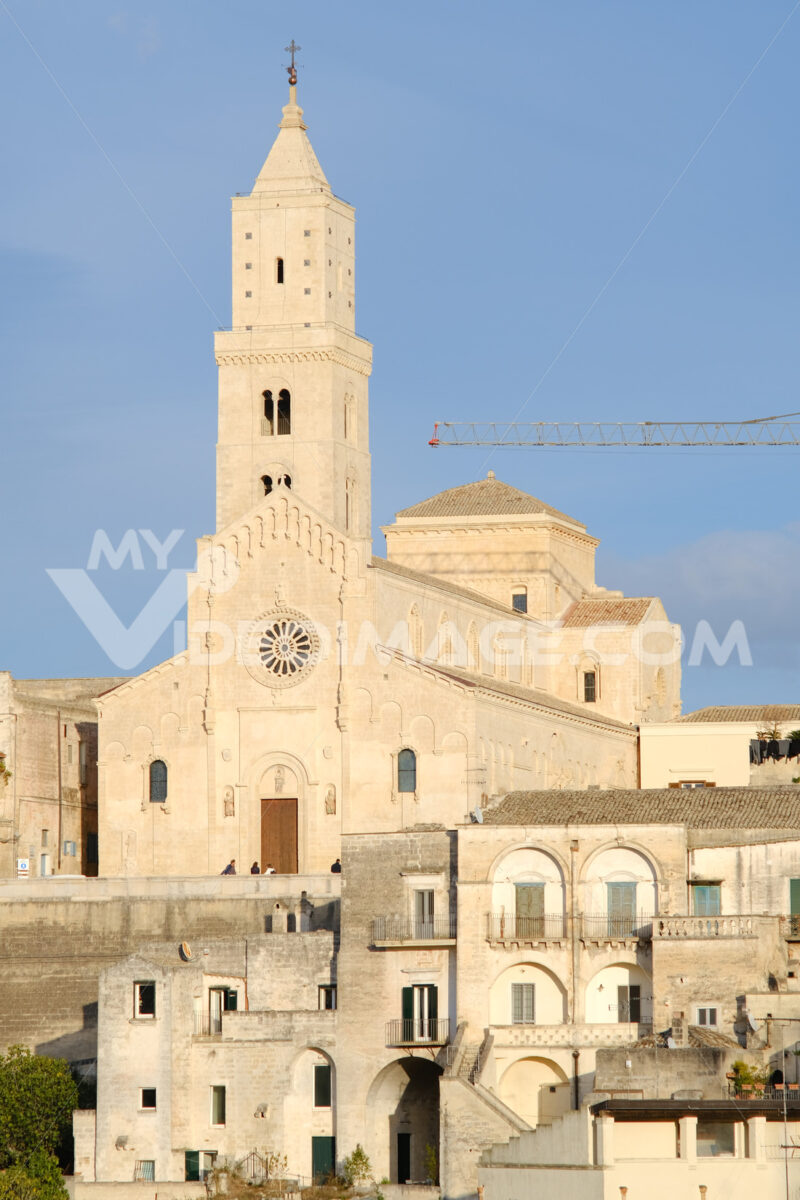 Cathedral Church of the Madonna della Bruna and of Sant'Eustachio in Matera. Built in tuff stone. Morning light. - MyVideoimage.com