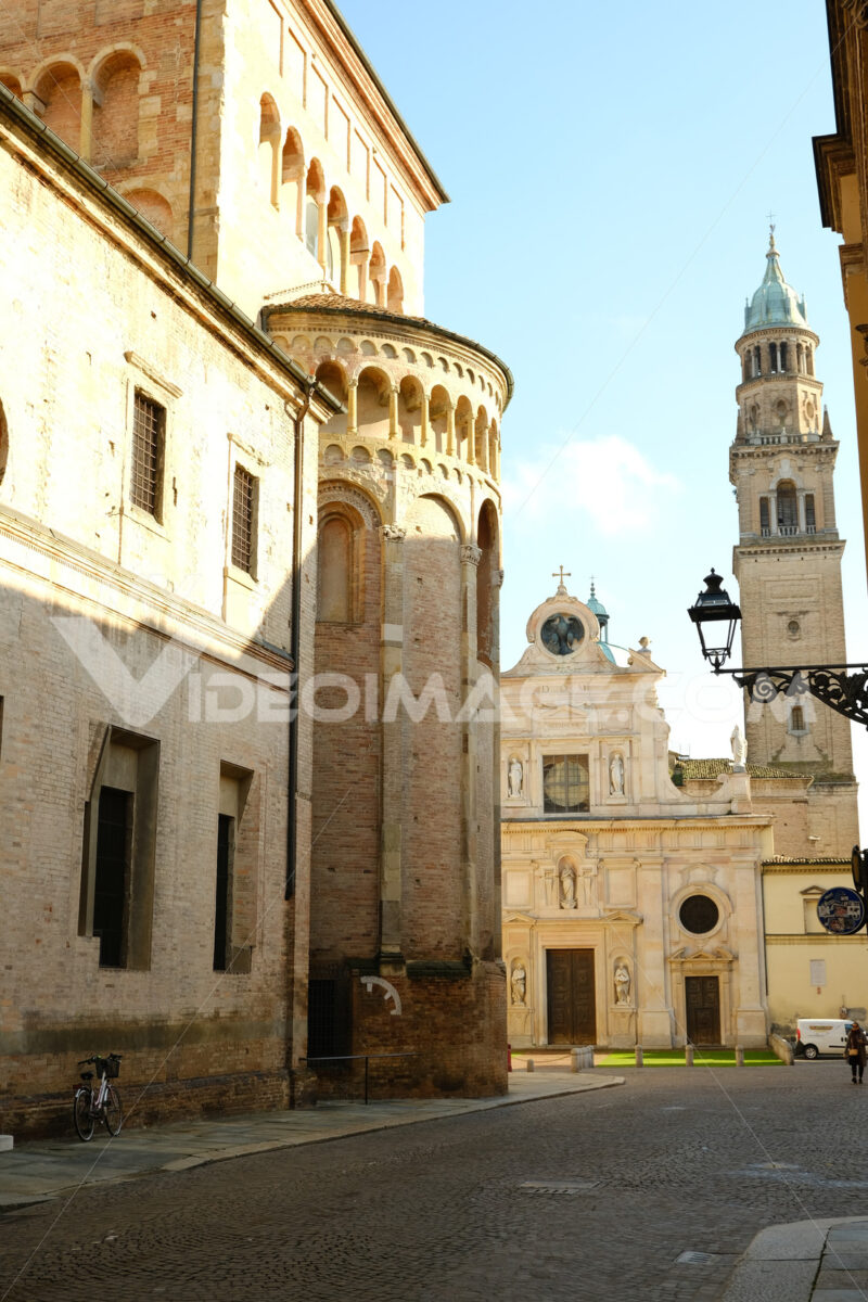 Cathedral of Parma. Church of San Giovanni evangelista in the background. - MyVideoimage.com