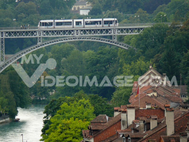 Church bridge with tram. - MyVideoimage.com