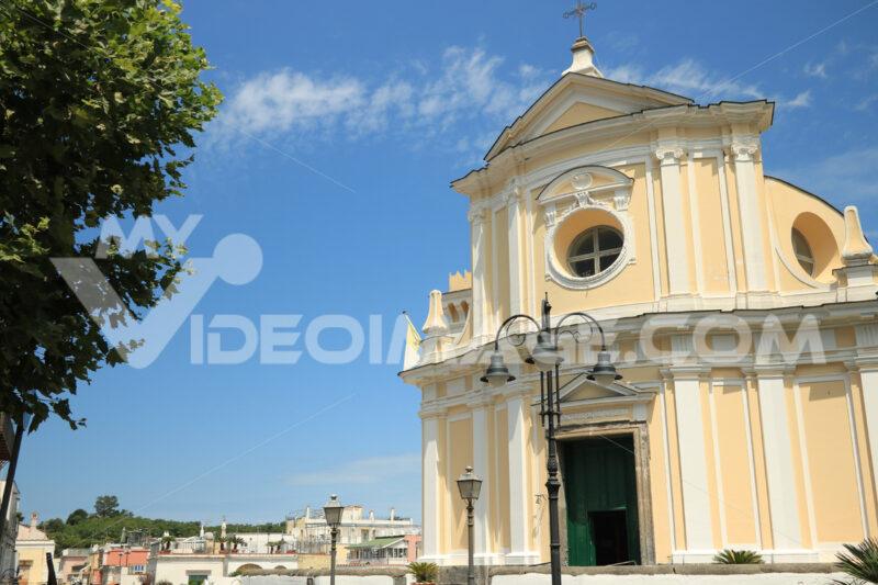 Church in Ischia Porto. Church facade on the background of blue. Foto Ischia photos.
