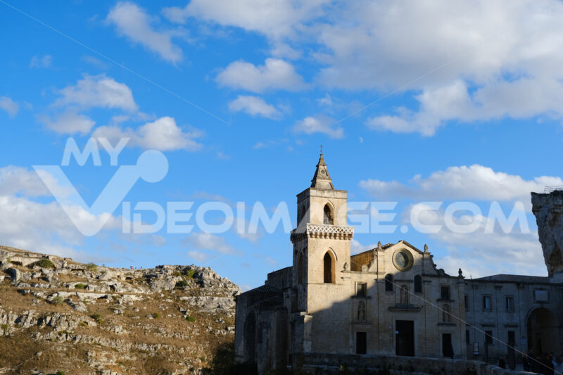 Church of San Pietro Caveoso in Matera. In the background the Mountains with ancient prehistoric caves. Matera foto - LEphotoart.com