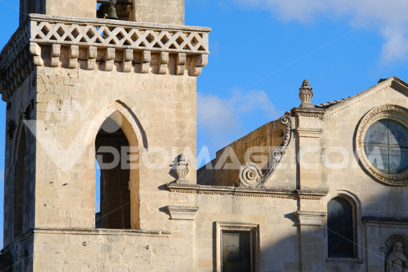Church of San Pietro Caveoso in Matera.Detail of the facade built in tuff blocks. - MyVideoimage.com