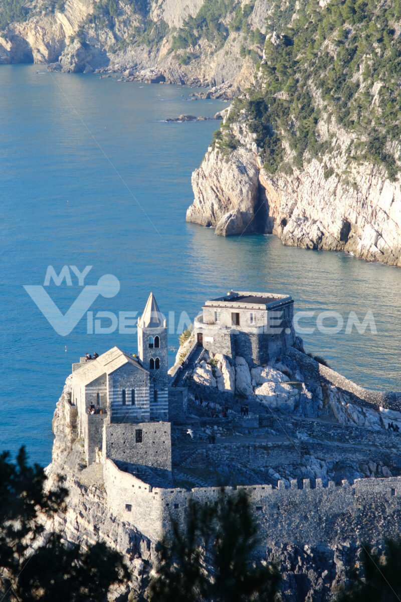 Church of San Pietro in Portovenere on the rocks overlooking the sea. Ancient medieval building near the Cinque Terre in Liguri. Italy. - LEphotoart.com