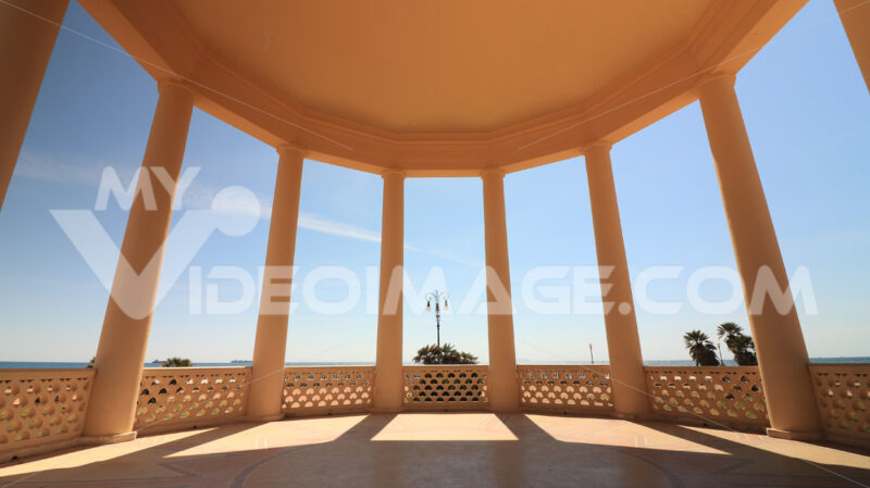 Circular gazebo temple of music near the Mascagni terrace. Interior view with columns framing the sea and the sky. - MyVideoimage.com