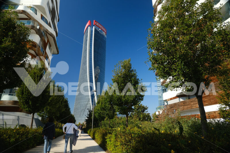 CityLife Milan Residential Complex and Generali tower. Palaces designed by Zaha Hadid and surrounded by green gardens. Company building. - LEphotoart.com