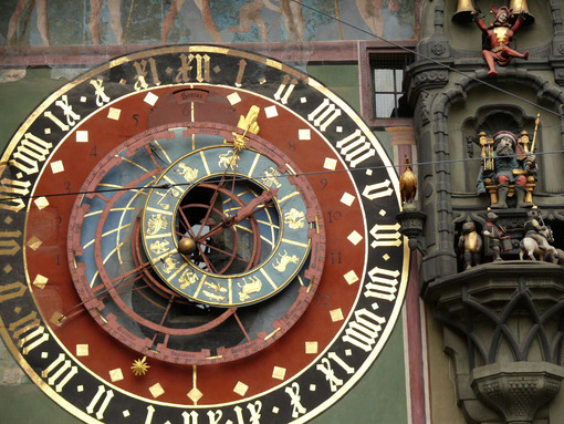Clock face of antique Swiss watch. - MyVideoimage.com