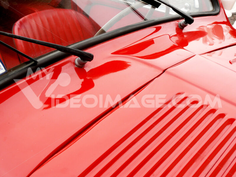 Close-up  of the bonnet of a vintage Italian car - MyVideoimage.com