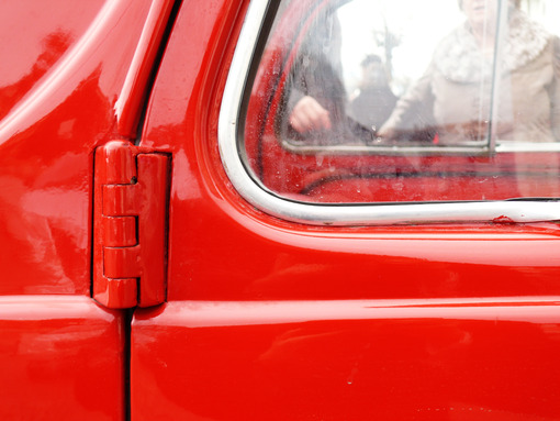 Close-up of the door of a vintage Italian car - MyVideoimage.com