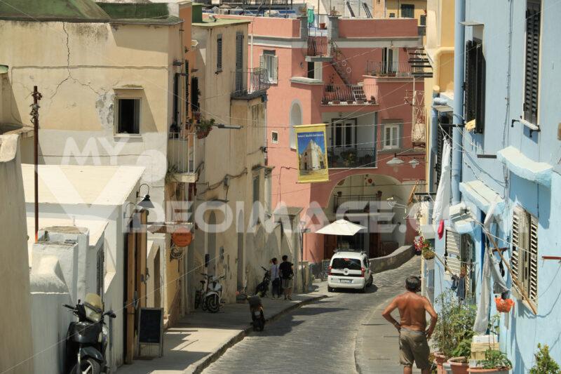 Colored facades. Village of Marina Corricella, Procida Island, Mediterranean Sea, - MyVideoimage.com | Foto stock & Video footage