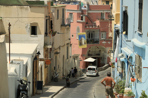 Colored facades. Village of Marina Corricella, Procida Island, Mediterranean Sea, - MyVideoimage.com | Foto stock & Video footage