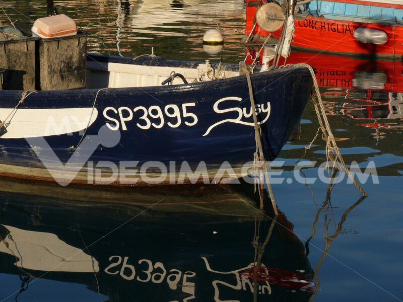 Colorful fishing boats moored at the harbor. Foto mare con barche. - MyVideoimage.com