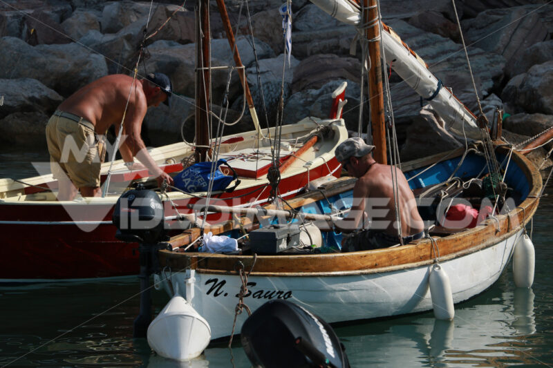Colorful fishing boats moored at the harbor. Two fishermen are preparing to set sail. - MyVideoimage.com