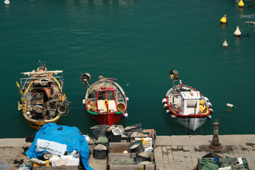 Colorful fishing boats moored at the harbor. View from above. Foto mare Lerici. Sea pictures - LEphotoart.com
