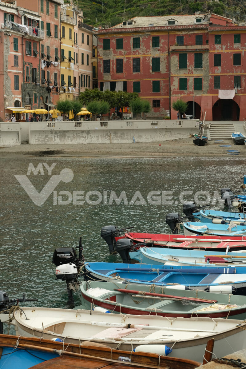 Colorful village houses overlooking the sea. Stock photo royalty free. Città italiane. Italian cities.