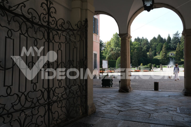 Comune di Varese. Este palace seat of the Varese municipality. Entrance gate and porch. - MyVideoimage.com | Foto stock & Video footage