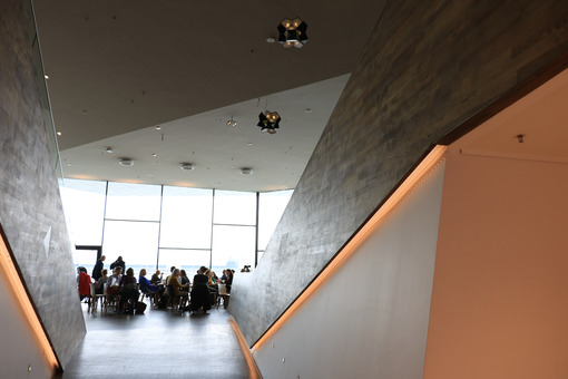 Contemporary bar. Eye Film Museum. Amsterdam Film Museum. View of the bar. Contemp - MyVideoimage.com   Foto stock & Video footage