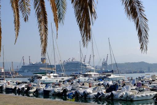 Costa Magica cruise ship. Cruise ship and boats in the marina. Stock photos. - MyVideoimage.com | Foto stock & Video footage