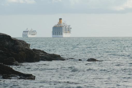 Costa luminosa cruise ship. Cruise ships anchored near the coast in the Gulf of La Spezia. Stock photos. - MyVideoimage.com | Foto stock & Video footage