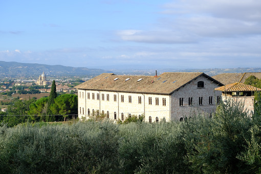 Countryside around Assisi. Religious buildings and an olive plantation. - MyVideoimage.com