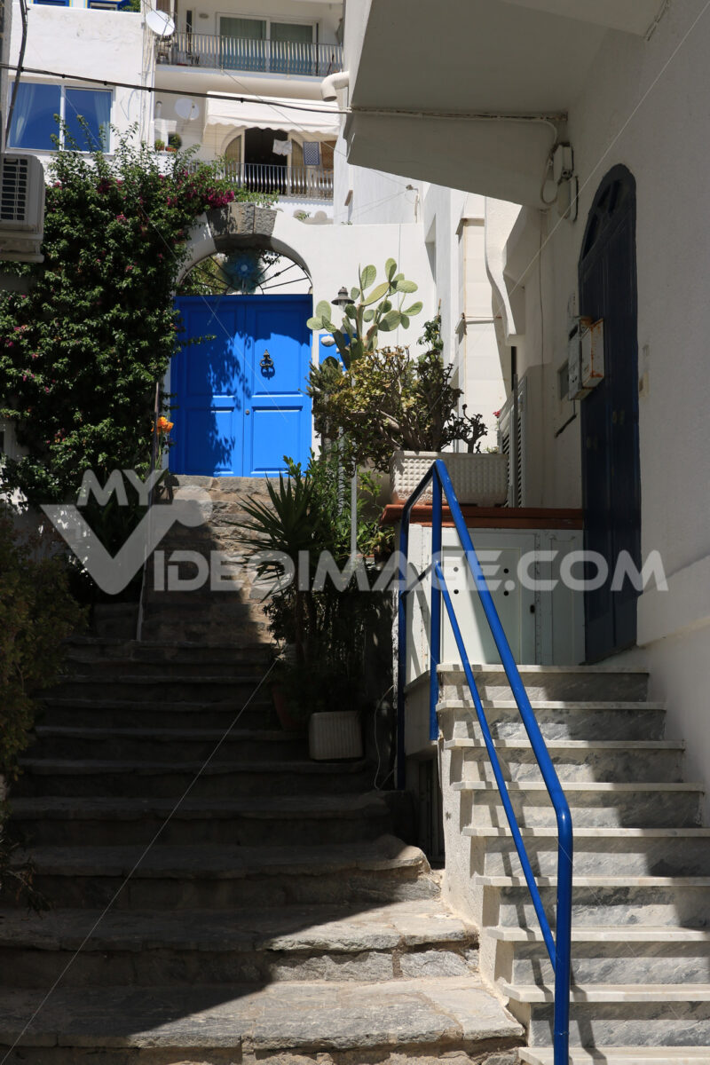 Courtyard of a Mediterranean style house with a marble staircase - MyVideoimage.com