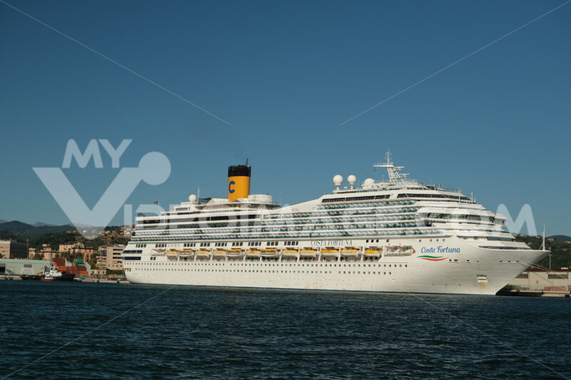 Cruise ship Costa Fortuna anchored at the Port of La Spezia in Liguria. Sky and blue sea background. - LEphotoart.com