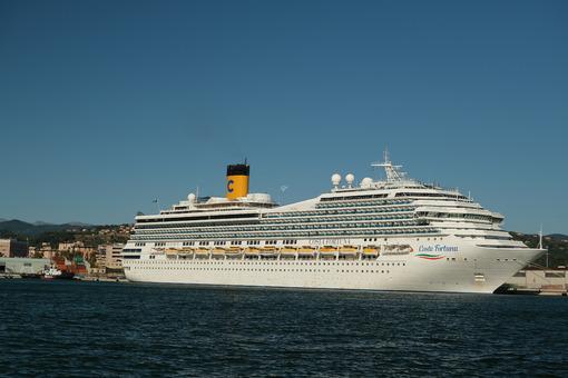 Cruise ship Costa Fortuna anchored at the Port of La Spezia in Liguria. Sky and blue sea background. - LEphotoart.com