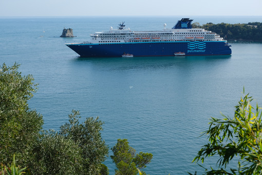 Cruise ship anchored in the Gulf of La Spezia opposite Portovenere. Gulf of La Spezia, near the Cinque Terre. - MyVideoimage.com