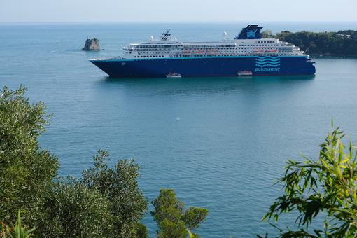 Cruise ship anchored in the Gulf of La Spezia opposite Portovenere. Gulf of La Spezia, near the Cinque Terre. - MyVideoimage.com