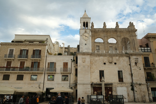 Decentralized clock tower built above the Palazzo del Sedile in Bari. - MyVideoimage.com