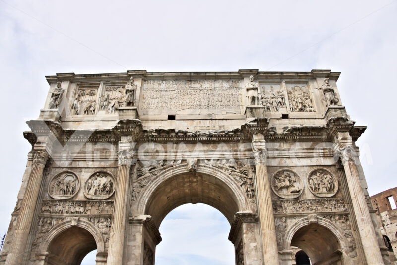 Detail of the Arch of Constantine. The arch is located near the Colosseum and is designed to commemorate the victory of Constantine against Maxentius. - MyVideoimage.com