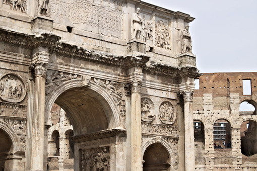 Detail of the Arch of Constantine. The arch is located near the Colosseum and is designed to commemorate the victory of Constantine against Maxentius. - LEphotoart.com