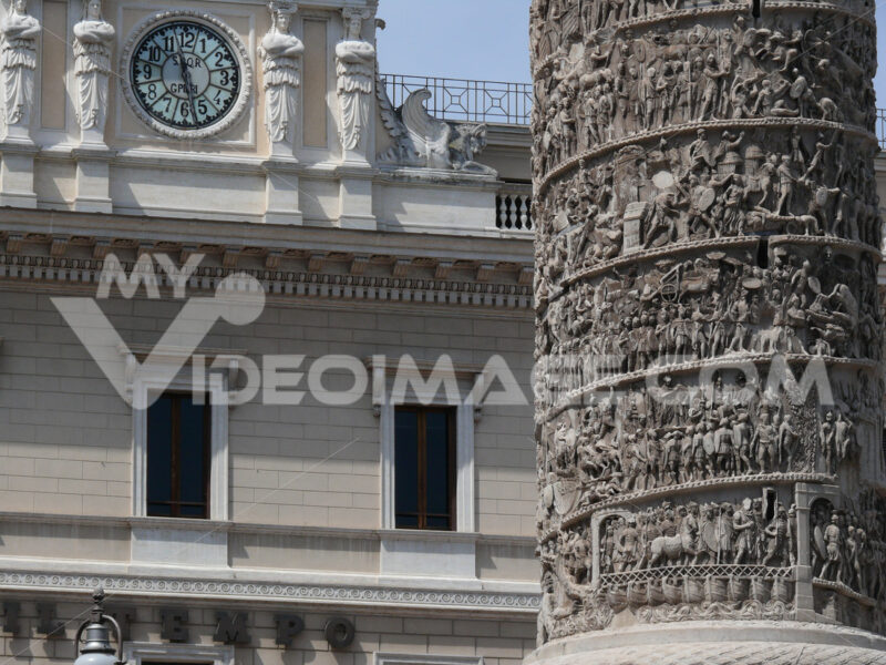 Detail of the Trajan column in front of Palazzo Chigi, home of the Italian parliament. - MyVideoimage.com