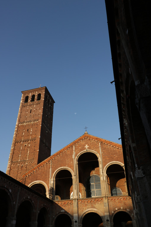Detail of the facade of the church of Sant'Ambrogio in Milan built with red bricks. - MyVideoimage.com