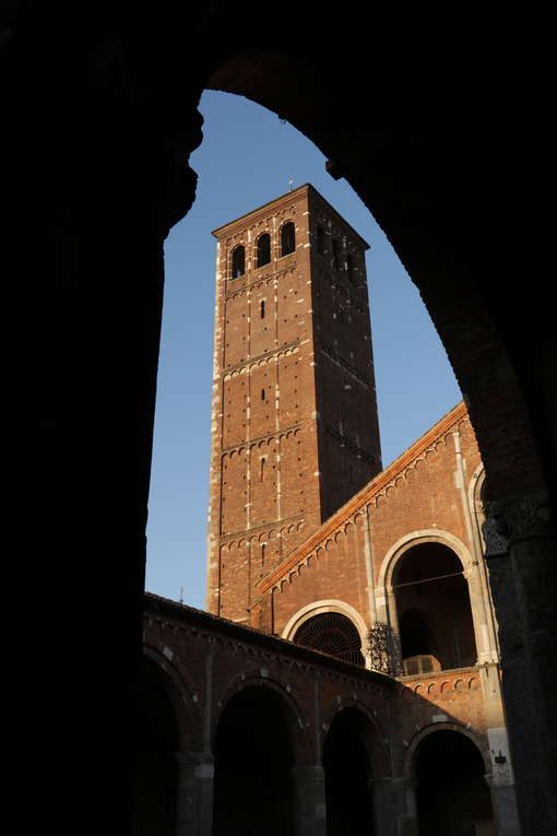 Detail of the facade of the church of Sant'Ambrogio in Milan built with red bricks. Milano foto - LEphotoart.com
