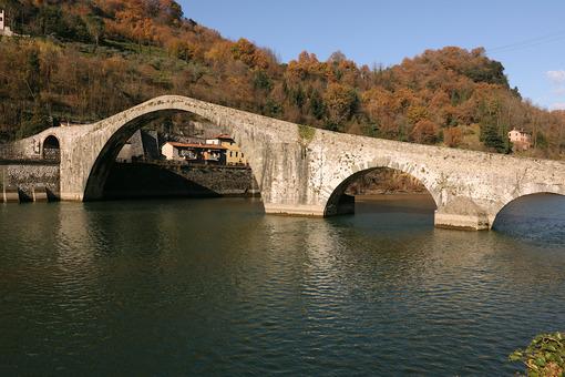 Devil's Bridge or Ponte della Maddalena. Lucca, Borgo a Mozzano. - MyVideoimage.com
