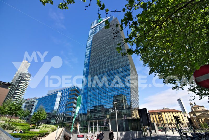 Diamond tower in Milano, modern buildings with curtain wall faca - MyVideoimage.com