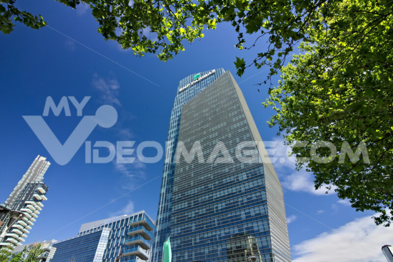Diamond tower in Milano, modern buildings with curtain wall facade. Società. Company building. Città italiane. Italian cities.