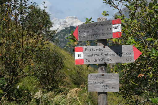Direction arrows on the mountain path. Signage on the trails of the Apuan Alps mountains in Alta Versilia. Stock photos. - MyVideoimage.com | Foto stock & Video footage