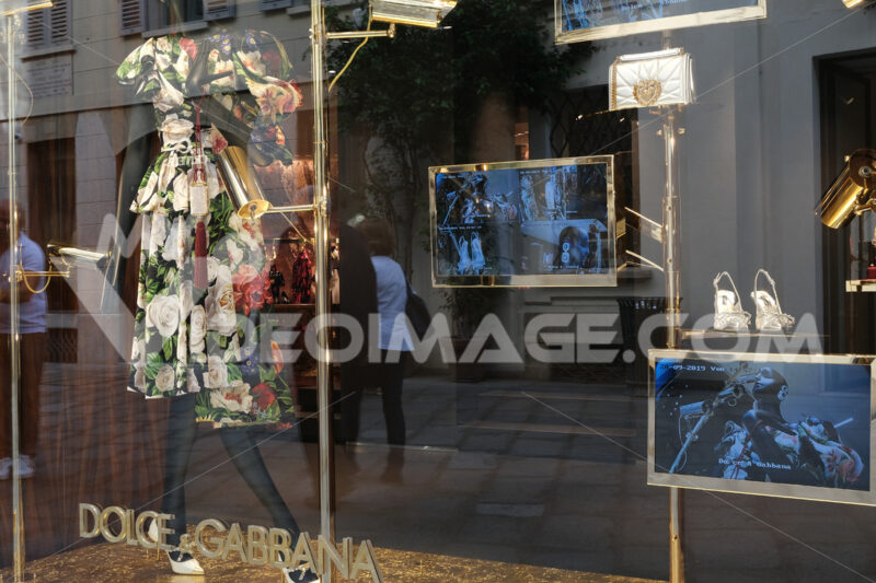 Dolce e Gabbana Boutique with shop windows on Via Montenapoleone - MyVideoimage.com