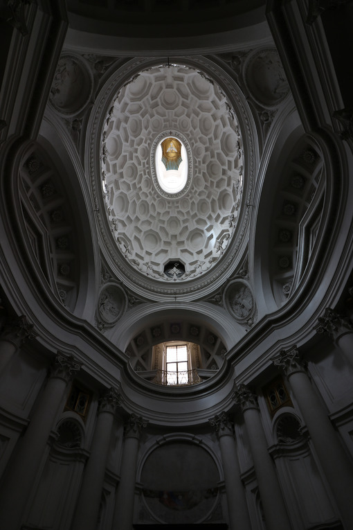 Dome of the baroque church of San Carlino at the four fountains. Designed by Francesco Borromini. - MyVideoimage.com