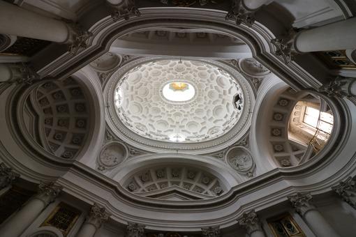 Dome of the baroque church of San Carlino at the four fountains. Designed by Francesco Borromini. Photo stock - LEphotoart.com