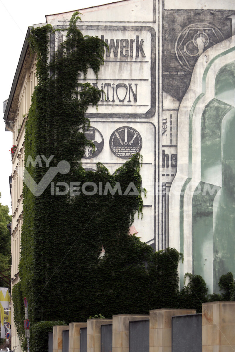 East Berlin palace with mural on the façade and a climbing plant - MyVideoimage.com
