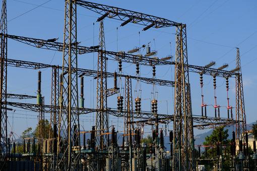 Electric power pylon. High voltage electrical pylons.  Stock photos. - MyVideoimage.com | Foto stock & Video footage