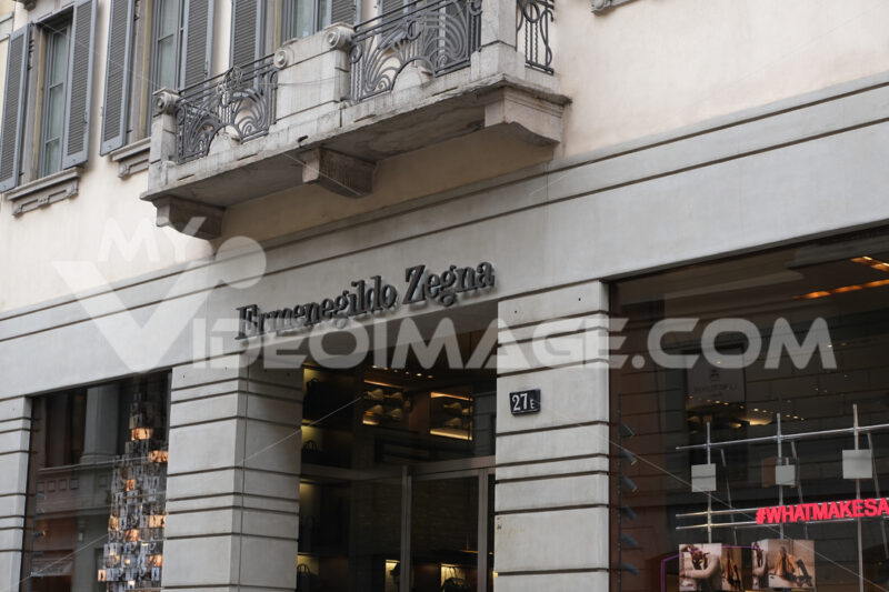 Ermenegildo Zegna  store with shop windows on Via Montenapoleone - MyVideoimage.com