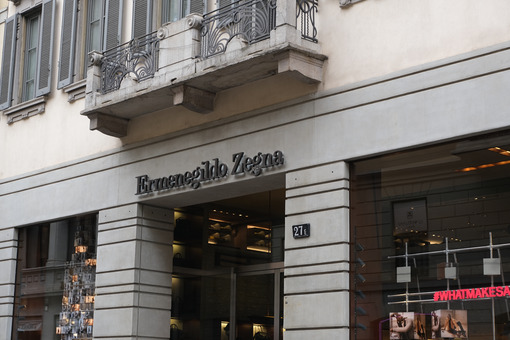 Ermenegildo Zegna  store with shop windows on Via Montenapoleone - MyVideoimage.com