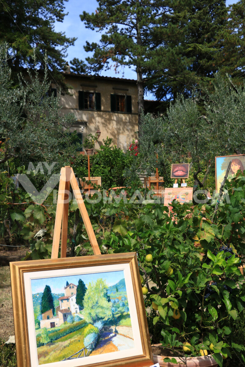 Exhibition of paintings in a picturesque garden of Panzano in Chianti - MyVideoimage.com | Foto stock & Video footage