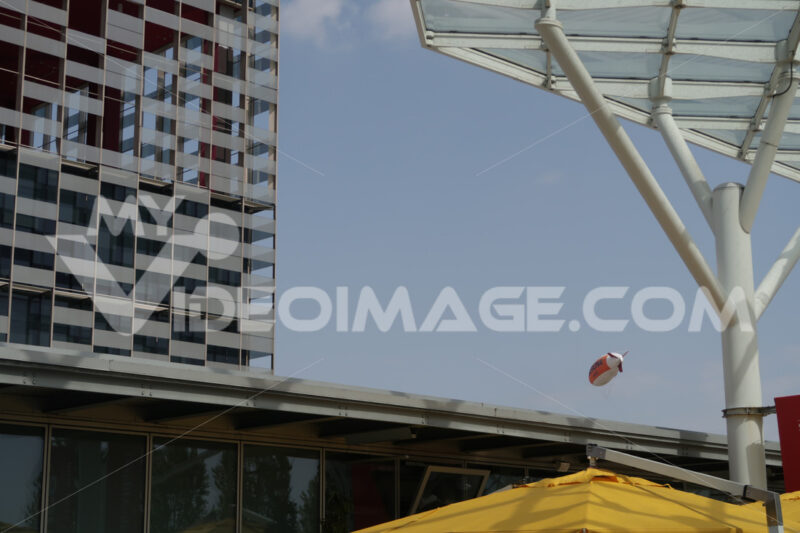 Exhibition pavilions at the Milan Rho Pero fair. Steel buildings with colored facades. - MyVideoimage.com