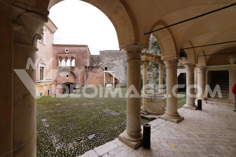 External portico in the Castello Malaspina di Massa. - MyVideoimage.com