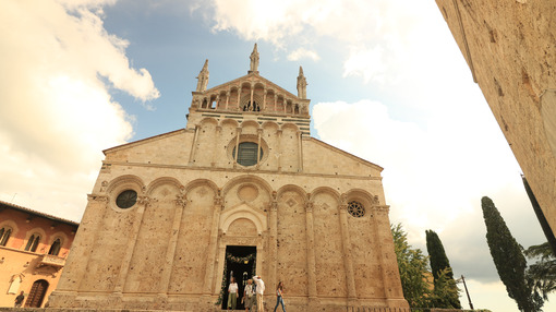Facade of the Cathedral of San Cerbone in Massa Marittima. The church located in Piazza Garibaldi is in Romanesque and Gothic style. - MyVideoimage.com